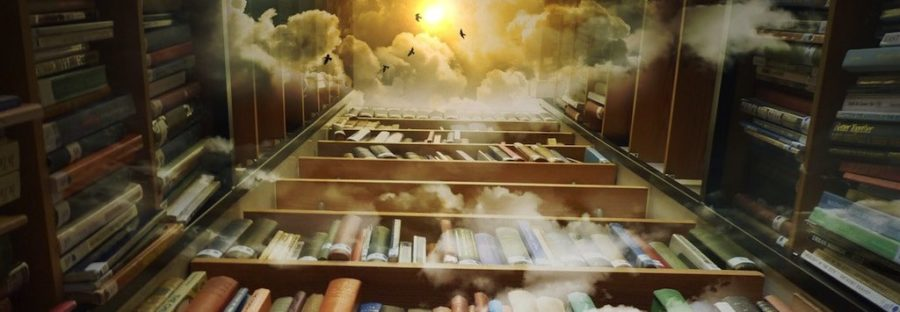 Magical library open to the sky