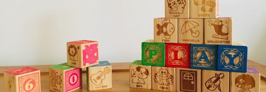 Alphabet wooden building blocks