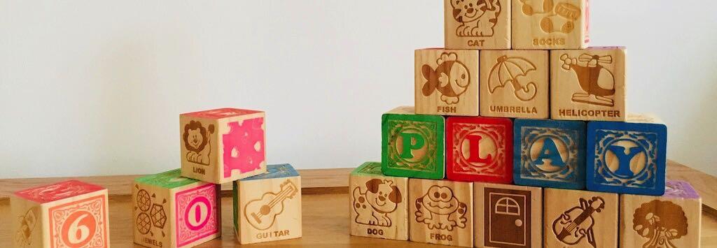Alphabet wooden building blocks